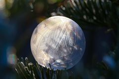 Photo of fabulous soap bubbles in the frost. Photo of fairy soap bubbles on a frost stock photos