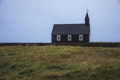 Icelandic Budir black church. stock photos