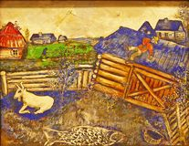 Photo of the famous original painting `The Kite` by Marc Chagall. Frameless. royalty free stock image
