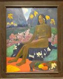Photo of the famous original 'The Seed of the Areoi' painted by Paul Gauguin stock image