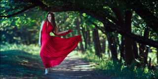 Photo of fashion woman in red dress in fairy forest. Beauty springtime royalty free stock image