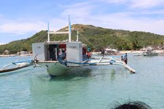 PUMP BOAT IN THE ISLA GIGANTES IN THE PHILIPPIANS Stock Image