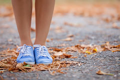 photo of female legs on the asphalt road full of dried yellow foliage stock photography