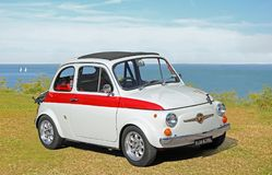 Fiat 695 abarth. Photo of a fiat 695 abarth in italian racing spec on display at the whitstable outdoor coast car show during summer 2017 Stock Image