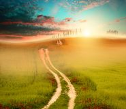 Sunset field and road. Photo of field with fresh green grass, setting sun and road; green, orange and blue colors Stock Images