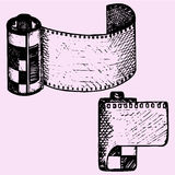 Photo film in cartridge, camera film roll. Set, doodle style, sketch illustration, hand drawn, vector Stock Images
