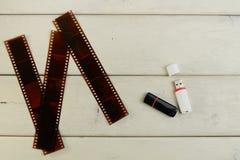 Photo film negative, usb-flash Stock Images