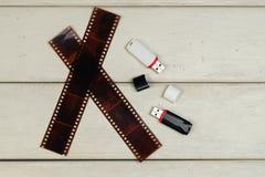 Photo film negative, usb-flash Royalty Free Stock Images