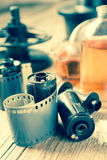 Photo film rolls, cassette and photographic equipment Royalty Free Stock Photography