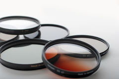 Photo filters and lens hood Royalty Free Stock Image