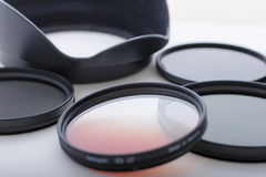 Photo filters and lens hood Royalty Free Stock Images