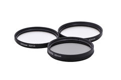 Photo filters set. This image present a set of 3 photo filters, at 52 mm diameter stock photos