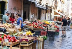 A photo of a food street market Vucciria in Sicily, Italy - 10.09.2017. A bright sunny photo of a food street market Vucciria in Sicily, Italy - 10.09.2017 royalty free stock image