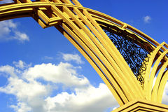 Photo fragment gate arch. Photo fragment gate, arch gate on sky background Stock Image