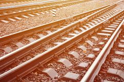 Photo fragment of the railroad tracks in the rainy weathe. R Royalty Free Stock Photography
