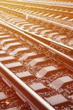 Photo fragment of the railroad tracks in the rainy weathe. R Stock Photography