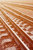 Photo fragment of the railroad tracks in the rainy weathe. R Royalty Free Stock Photos