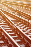 Photo fragment of the railroad tracks in the rainy weathe. R royalty free stock photo