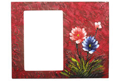 Photo frame. Wooden painted textured photo frame Stock Image