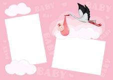 Photo frame. Template - photo frame for baby (girl stock illustration