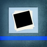 Photo frame. On blue fabric background Stock Photography