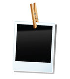 Photo frame. Vector retro empty printout and clothespin Stock Image