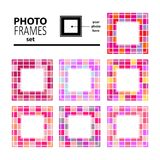 Photo frame-03. Abstract mosaic frames set isolated on white background. Templates for photo or images Royalty Free Stock Photography