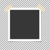 Photo frame with adhesive, sticky tape, pin on isolate background. Template for your photo or image Royalty Free Stock Photography