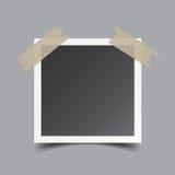 Photo frame with adhesive tape, isolated on grey background. Stock Image