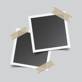 Photo frame with adhesive tape, isolated on grey background. For Stock Photo