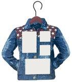 Photo frame as denim shirt on a hanger Stock Photos