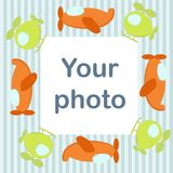 Photo frame for baby with airplanes Stock Images