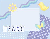 Photo frame for baby boy. With butterfly and duckling and flower Royalty Free Stock Photography