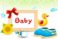 Photo Frame with Baby item. Illustration of photo frame with toy duck and baby shoe Royalty Free Stock Images