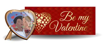 Vector Valentines Day banner design. Photo in the frame on the background of a greeting card. Be my Valentine. Couples in love. Boy and girl kissing. Vector Royalty Free Stock Images