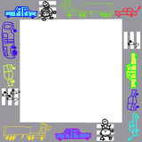 Photo frame or background for text. Photo frame or the text with cars a pedestrian crossing a cat and a mouse, children's drawing Stock Images