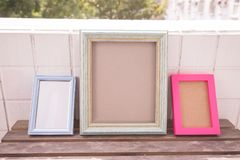 Photo frame on balcony Royalty Free Stock Photo