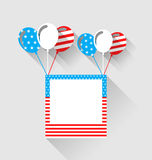 Photo frame and balloons in US national colors, long shadow. Illustration photo frame and balloons in US national colors, long shadow style - Vector Stock Image