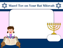 Photo Frame - Bat Mitzvah. Photo frame, post card or page for your scrapbook. Subject: Bat Mitzvah. Empty space for a message. Eps file available Stock Photo