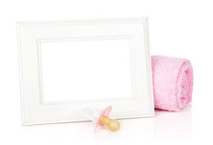 Photo frame with bath towel and girl dummy Royalty Free Stock Photos