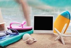 Photo frame and beach Stock Photos