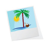 Photo frame with beach icon  Stock Photos