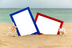 Photo frame on the beach, photography on the beach, sea shells, Royalty Free Stock Images