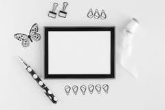 Photo frame of black color mockup royalty free stock images