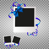 Photo frame with blue bow and ribbons. White plastic border on a transparent background. Vector illustration. Photo realistic Vect Stock Image