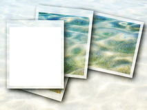 Photo frame and blue sea waves Stock Images