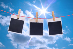 Photo frame the blue sky. Photo frames with nature background Stock Image