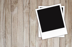 Photo frame on Brown wood plank wall texture Royalty Free Stock Photo
