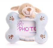 Photo frame with bunny toy Royalty Free Stock Image