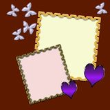 Photo frame with butterflies and hearts on a claret background. stock illustration